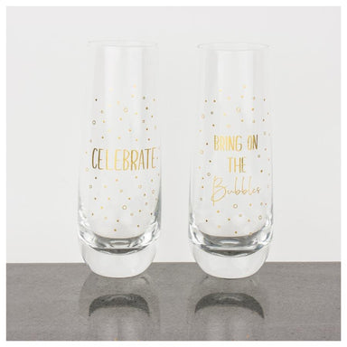 Urban Products Gold Celebrate Stemless Champagne Glasses (2pc) | Koop.co.nz