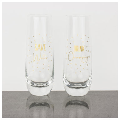 Urban Products Gold Save Water Stemless Champagne Glasses (2pc) | Koop.co.nz