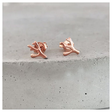 Twigg Coral Rose Gold Stud Earrings | Koop.co.nz