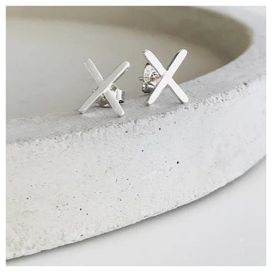Twigg Large Silver Cross Stud Earrings | Koop.co.nz