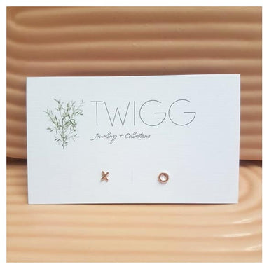 Twigg Little XO Rose Gold Stud Earrings | Koop.co.nz