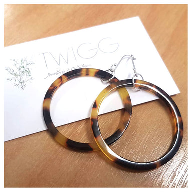 Twigg Dark Tortoiseshell Hoop Earrings | Koop.co.nz