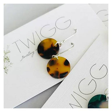 Twigg Dark Tortoiseshell Disc Earrings | Koop.co.nz