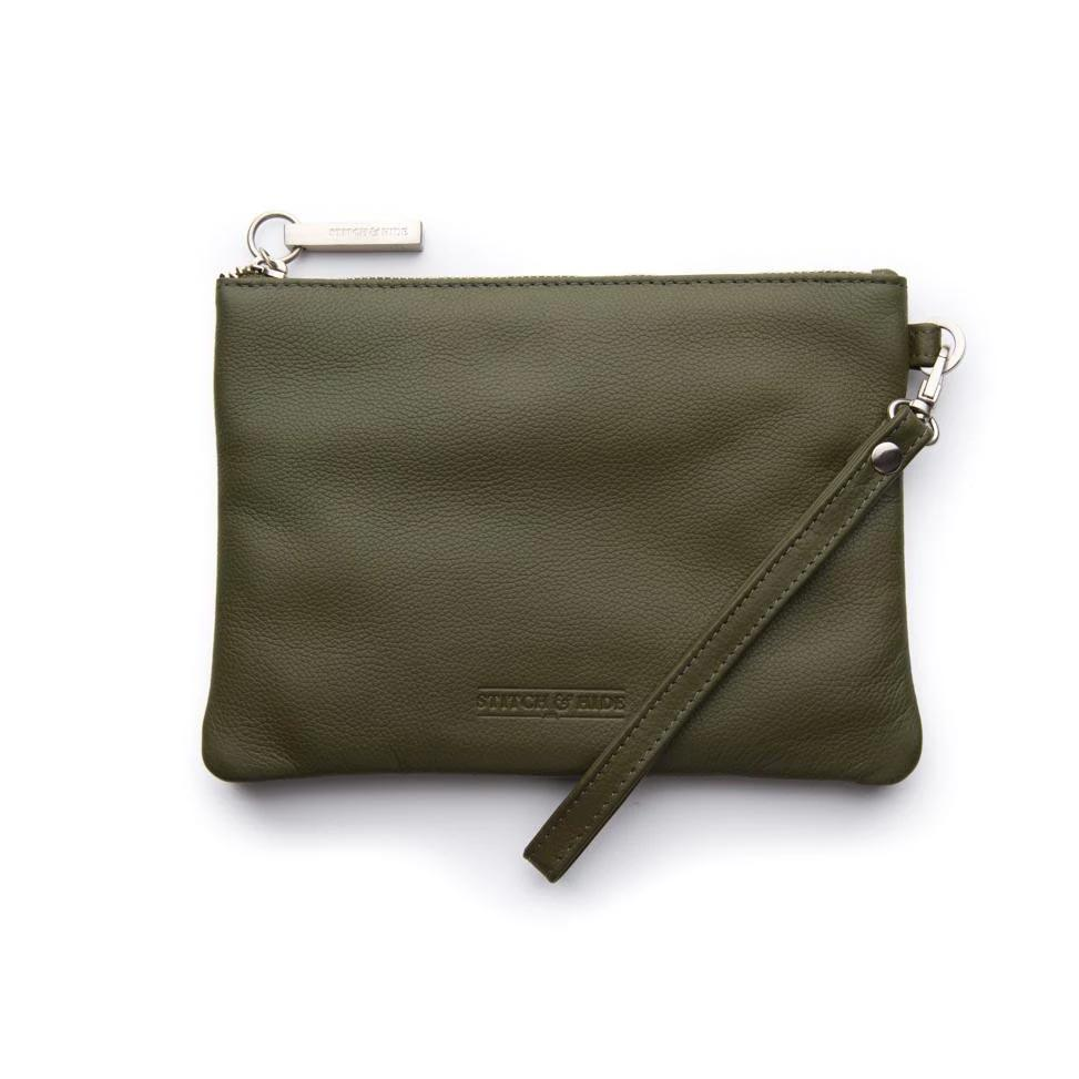 Stitch & Hide Leather Cassie Clutch - Olive | Koop.co.nz