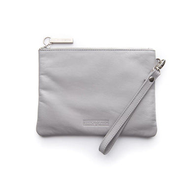 Stitch & Hide Leather Cassie Clutch - Misty Grey | Koop.co.nz