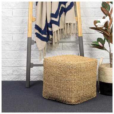 Linens & More Square Seagrass Pouf | Koop.co.nz