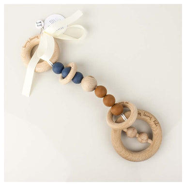 Funny Bunny Kids Luxury Silicone & Wood Teether/Play Toy - Navy Round | Koop.co.nz