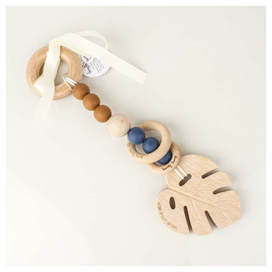 Funny Bunny Kids Luxury Silicone & Wood Teether/Play Toy - Navy Monstera | Koop.co.nz