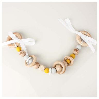 Funny Bunny Kids Silicone & Wood Pram Garland/Teether - Mustard Round | Koop.co.nz