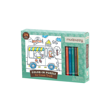 Mudpuppy Colour In Puzzle – Ice Cream Truck (24pc) | Koop.co.nz