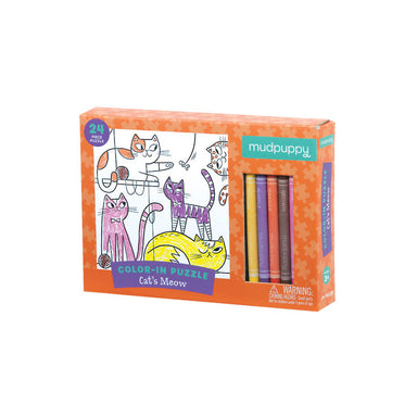 Mudpuppy Colour In Puzzle – Cat's Meow (24pc) | Koop.co.nz