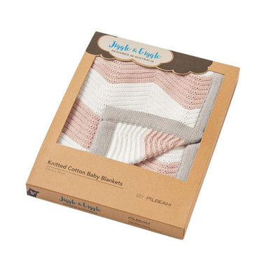 Jiggle & Giggle Cotton Zigzag Baby Blanket - Pink | Koop.co.nz