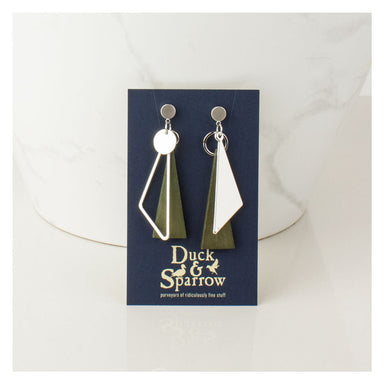 Duck & Sparrow Urban Landscape Earrings - Silver/Green | Koop.co.nz