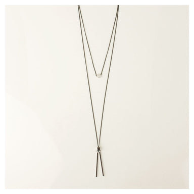 Duck & Sparrow Balance Double Strand Silver & Black Necklace | Koop.co.nz