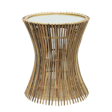 Stoneleigh & Roberson Bamboo Side Table with Mirror Top (50cm) | Koop.co.nz