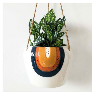 Urban Products Woodstock Rainbow Dot Hanging Planter - Blue/Terracotta | Koop.co.nz
