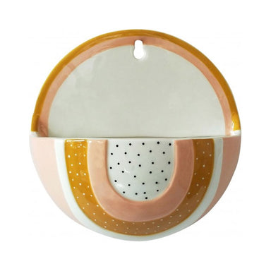 Urban Products Woodstock Rainbow Dot Wall Planter - Pink/Mustard | Koop.co.nz