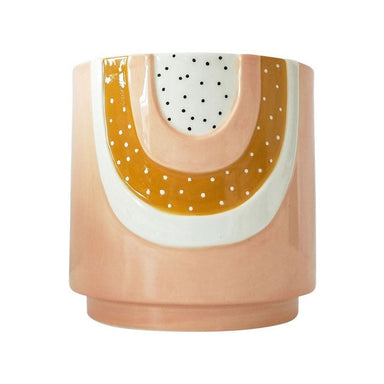 Urban Products Woodstock Rainbow Dot Planter - Pink/Mustard | Koop.co.nz