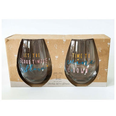 Urban Products Stemless Wine Glass Set - Time To Wine Down | Koop.co.nz
