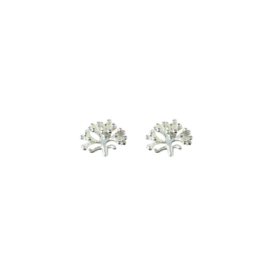 Sterling Pohutukawa Sprig Silver Stud Earrings | Koop.co.nz