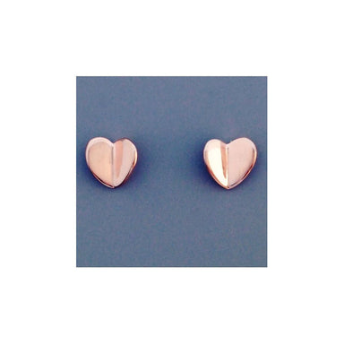 Sterling Folded Heart Rose Gold Stud Earrings | Koop.co.nz