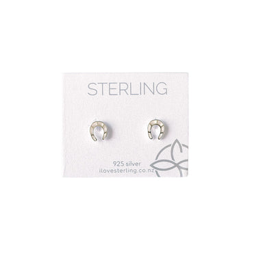 Sterling Horseshoe Silver Stud Earrings | Koop.co.nz