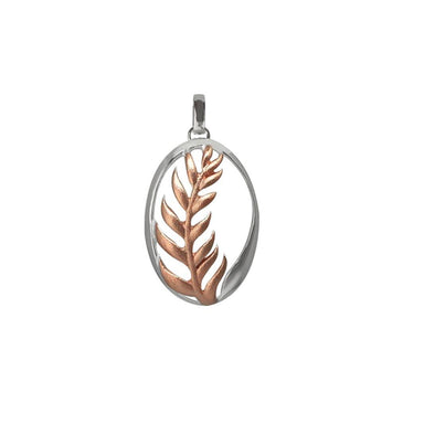 Sterling Ascending Fern Necklace Pendant - Rose Gold & Silver | Koop.co.nz