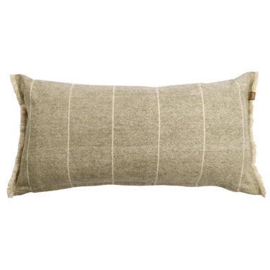 Raine & Humble Brushed Wild Stripe Cushion - Khaki Green | Koop.co.nz
