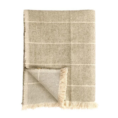 Raine & Humble Brushed Wild Stripe Throw - Khaki Green | Koop.co.nz