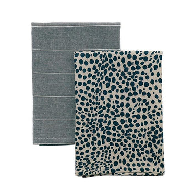 Raine & Humble Animal Print Tea Towel Pack - Navy Blue (2pc) | Koop.co.nz