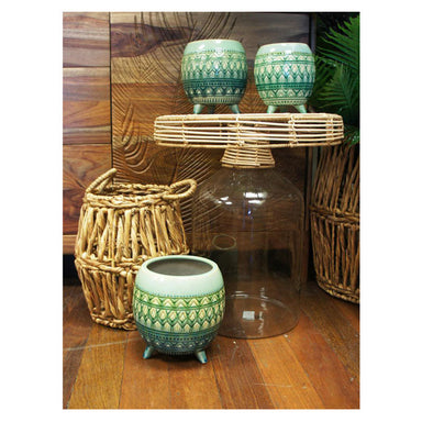 Stoneleigh & Roberson Bali Glass & Rattan Side Table (46cm) | Koop.co.nz