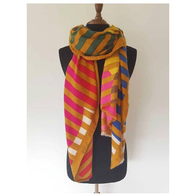 Hello Friday Circle Stripe Scarf - Mustard | Koop.co.nz