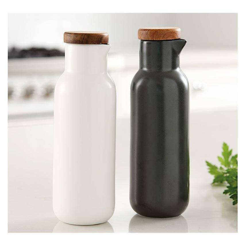 Ladelle Essentials Oil & Vinegar Set - White/Charcoal | Koop.co.nz