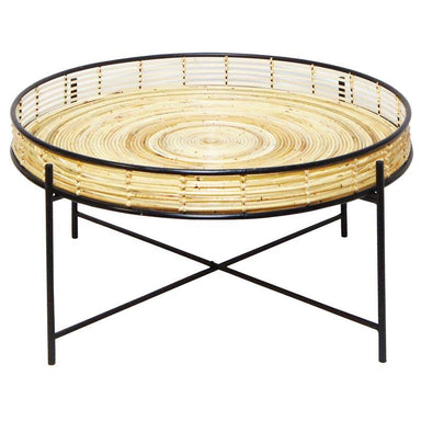 Stoneleigh & Roberson Rattan & Metal Side Table (60cm) | Koop.co.nz
