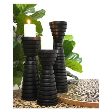 Stoneleigh & Roberson Rocco Wood Candle Holder - Black | Koop.co.nz