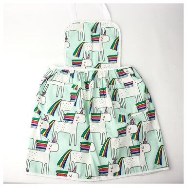 Elephant Ollie Retro Cotton Kids Apron – Minty Unicorns | Koop.co.nz