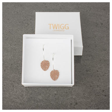 Twigg Monstera Luxe Rose Gold Hoop Earrings | Koop.co.nz