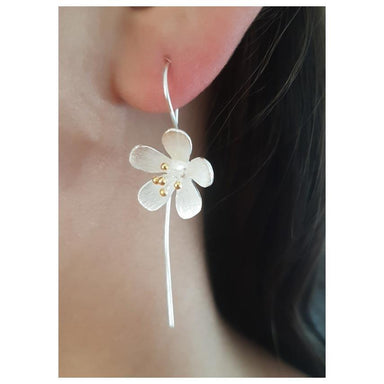 Twigg Silver Daisy Drop Earrings | Koop.co.nz