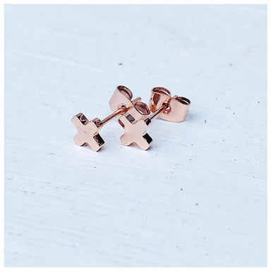 Twigg Little Cross Rose Gold Stud Earrings | Koop.co.nz