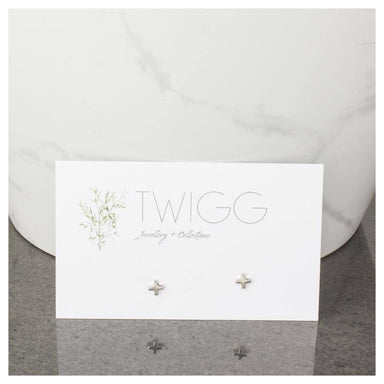 Twigg Little Cross Silver Stud Earrings | Koop.co.nz