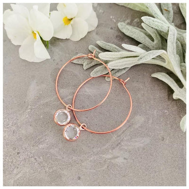Twigg Swarovski Crystal Rose Gold Hoop Earrings | Koop.co.nz