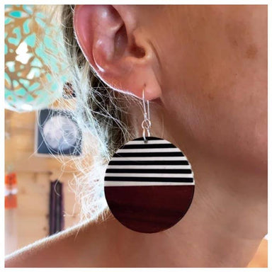 Twigg Round Black & White Stripe Wood Earrings | Koop.co.nz