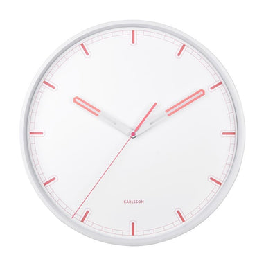 Karlsson Dipped Wall Clock - White & Coral (40cm) | Koop.co.nz