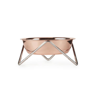 Bendo Luxe Meow Cat Bowl - Copper Bowl & Chrome Stand | Koop.co.nz