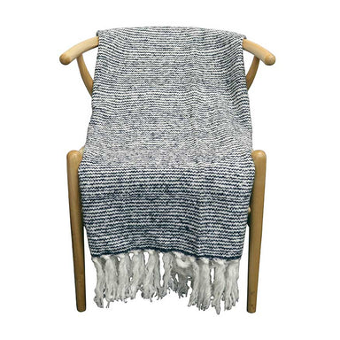 Le Forge Wool Blend Throw – Ripple Stripe Blue | Koop.co.nz