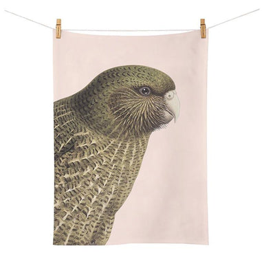 100% New Zealand Hushed Pink Kakapo Tea Towel | Koop.co.nz
