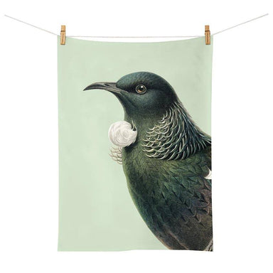 100% New Zealand Hushed Green Tui Tea Towel | Koop.co.nz