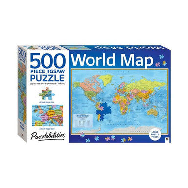 Hinkler World Map Jigsaw Puzzle (500pc) | Koop.co.nz