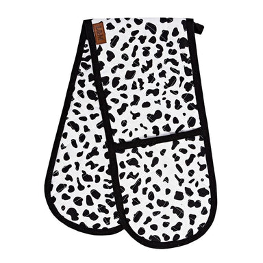 Linens & More Ocelot Double Oven Glove - Black & White | Koop.co.nz