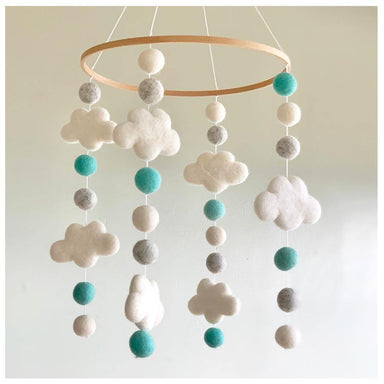 Sheepish Design NZ Wool 3D Cloud Baby Mobile - Turquoise | Koop.co.nz